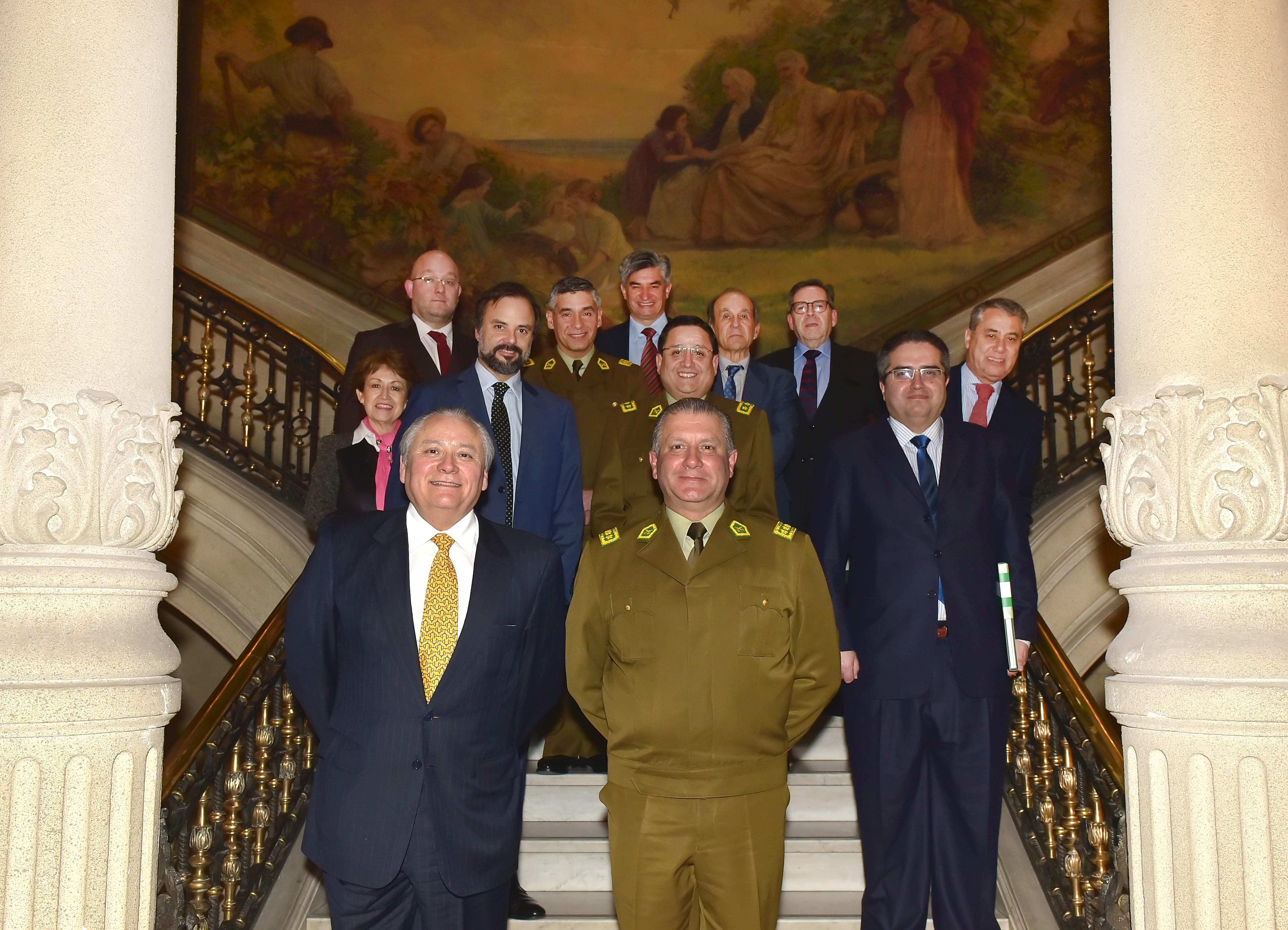 Pleno recibió al General Director, al General Subdirector y al Director Nacional de Inteligencia, Drogas e Investigación Criminal, de Carabineros de Chile